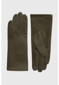 Answear Lab - Rękawiczki. Kolor: zielony. Materiał: dzianina. Wzór: gładki. Styl: wakacyjny