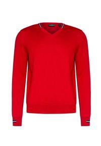 Czerwony sweter Chervo sportowy, z kontrastowym kołnierzykiem, w kolorowe wzory