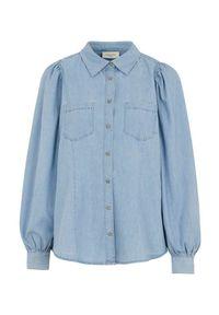 Freequent Dżinsowa koszula Dobby błękitny female niebieski L (42). Kolor: niebieski. Materiał: tkanina. Styl: elegancki
