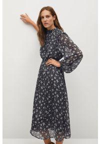 Czarna sukienka mango ze stójką, maxi
