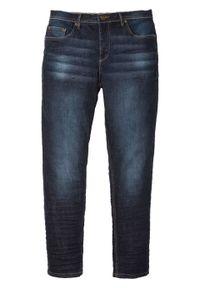 Dżinsy ze stretchem Slim Fit Tapered bonprix ciemnoniebieski denim. Kolor: niebieski