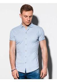 Niebieska koszula Ombre Clothing krótka, z krótkim rękawem, z klasycznym kołnierzykiem