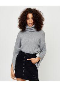 ONETEASPOON - Sweter z błyszczącą nicią. Okazja: do domu, na co dzień. Typ kołnierza: golf. Kolor: szary. Materiał: bawełna. Sezon: jesień, zima. Styl: casual