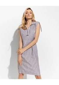 PESERICO - Lniana sukienka w paski. Kolor: brązowy. Materiał: len. Wzór: paski. Sezon: wiosna, lato. Długość: mini