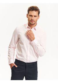 Różowa koszula TOP SECRET w kolorowe wzory, długa, na jesień, na spotkanie biznesowe #7