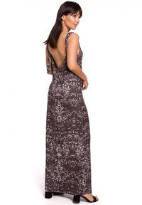 BE - Długa letnia sukienka z głębokim dekoltem na plecach. Materiał: tkanina. Długość rękawa: na ramiączkach. Sezon: lato. Typ sukienki: proste. Długość: maxi