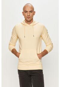 Żółta bluza nierozpinana Jack & Jones gładkie, z kapturem