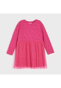 Sinsay - Sukienka z nadrukiem w koty - Różowy. Kolor: różowy. Wzór: nadruk #1