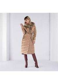 Beżowy płaszcz Wittchen długi, na zimę, z kapturem