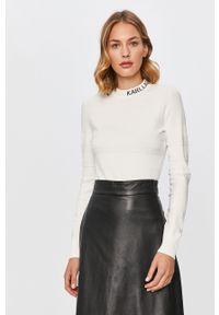 Biały sweter Karl Lagerfeld długi, z długim rękawem