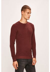Jack & Jones - Sweter. Okazja: na co dzień. Kolor: fioletowy. Materiał: materiał. Wzór: ze splotem. Styl: casual