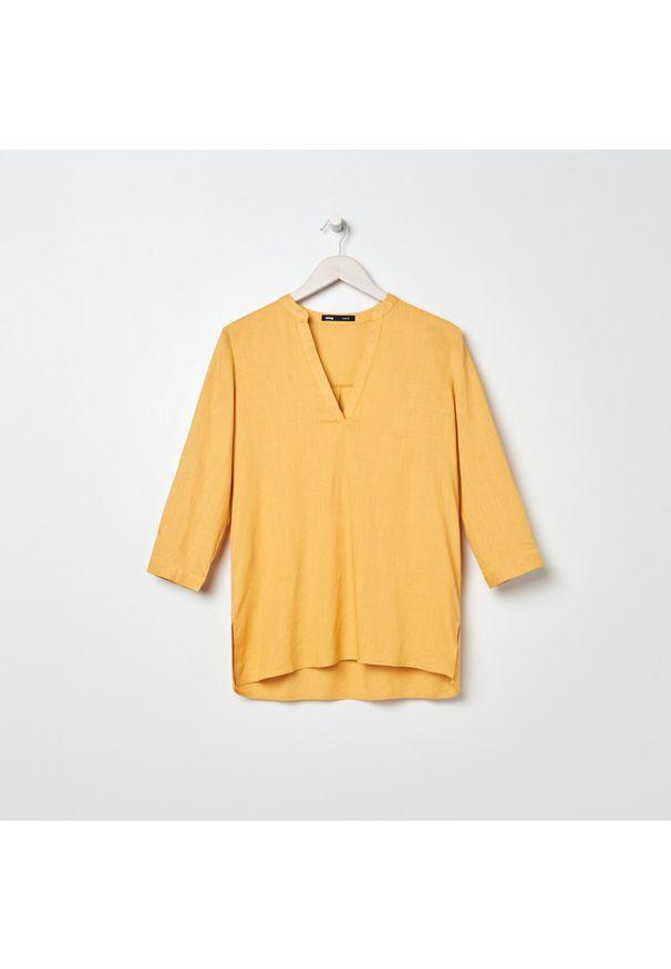 Sinsay - Bluzka z lnem - Żółty. Kolor: żółty. Materiał: len