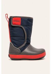 Niebieskie buty zimowe Crocs na zimę, z okrągłym noskiem