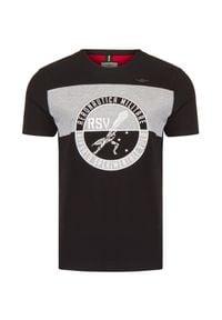 Aeronautica Militare - T-shirt AERONAUTICA MILITARE. Materiał: prążkowany, bawełna. Wzór: aplikacja