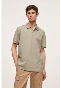 Mango Man - Polo Rea. Okazja: na co dzień. Typ kołnierza: polo. Kolor: zielony. Materiał: skóra, materiał. Długość: krótkie. Styl: casual