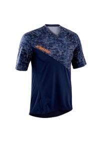 ROCKRIDER - Koszulka krótki rękaw na rower MTB All Mountain. Kolor: niebieski. Materiał: poliester, elastan, materiał. Długość rękawa: krótki rękaw. Długość: krótkie. Sport: kolarstwo