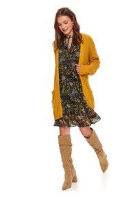 TOP SECRET - Kardigan długi rękaw damski luźny. Okazja: do pracy. Kolor: żółty. Materiał: tkanina. Długość rękawa: długi rękaw. Długość: długie. Sezon: jesień