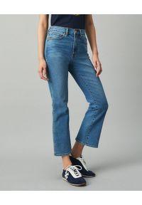 Tory Burch - TORY BURCH - Jeansy z rozszerzanymi nogawkami. Okazja: do pracy. Stan: podwyższony. Kolor: niebieski. Styl: klasyczny