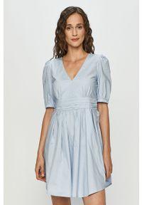 Niebieska sukienka Vila prosta, mini, z krótkim rękawem