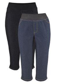 Wygodne legginsy dżinsowe rybaczki (2 pary) bonprix ciemnoniebieski + czarny. Kolor: czarny