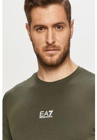 Brązowy t-shirt EA7 Emporio Armani z nadrukiem, na co dzień, casualowy