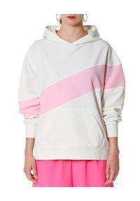 AGGI - Biała bluza z różowym pasem Miley Lemonade. Typ kołnierza: kaptur. Kolor: biały. Materiał: bawełna, elastan. Sezon: lato. Styl: sportowy