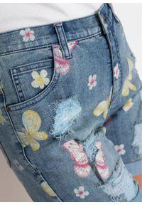 """Szorty dżinsowe z przetarciami bonprix niebieski """"stone"""" w roślinny wzór. Kolor: niebieski. Wzór: nadruk, aplikacja, kwiaty #5"""