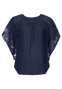 Niebieska bluzka bonprix z okrągłym kołnierzem, z krótkim rękawem, krótka