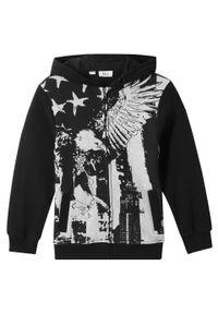 Czarna bluza bonprix rockowa, z nadrukiem