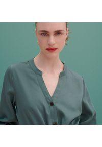 Reserved - Szmizjerka z Tencelu™ Lyocellu - Turkusowy. Kolor: turkusowy. Typ sukienki: szmizjerki