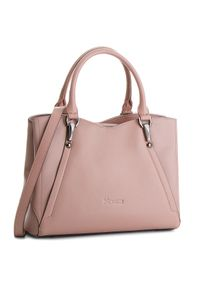 Różowa torebka klasyczna Kazar z tłoczeniem, do ręki