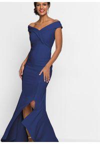 Niebieska sukienka bonprix wizytowa, z kołnierzem typu carmen
