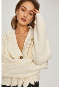 Kremowy sweter rozpinany Answear Lab wakacyjny, długi