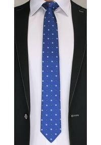 Elegancki Krawat Męski w Grochy i Kwiatki -6,5cm- Chattier, Niebieski. Kolor: niebieski. Materiał: tkanina. Wzór: grochy. Styl: elegancki