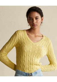 Żółty sweter Ralph Lauren z długim rękawem, polo, długi