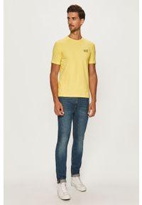 Żółty t-shirt EA7 Emporio Armani z nadrukiem, casualowy