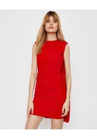 Czerwona sukienka mini Alexander McQueen z aplikacjami
