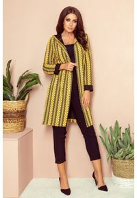 Sweter Numoco długi, elegancki, z kapturem