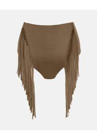 Wolford - WOLFORD - Dół od bikini z frędzlami. Stan: podwyższony. Kolor: zielony. Materiał: materiał