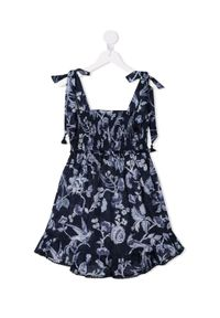 ZIMMERMANN KIDS - Granatowa sukienka z kwiatowym nadrukiem 0-10 lat. Kolor: niebieski. Materiał: bawełna. Długość rękawa: na ramiączkach. Wzór: kwiaty, nadruk. Sezon: lato