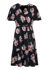 Happy Holly Sukienka z wiskozy w kwiaty Olivia Czarny we wzory female czarny/ze wzorem 36/38. Kolor: czarny. Materiał: wiskoza. Długość rękawa: krótki rękaw. Wzór: kwiaty. Typ sukienki: kopertowe