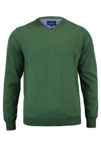 Zielony sweter Adriano Guinari na spotkanie biznesowe, biznesowy, z dekoltem w serek