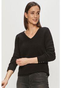 Czarny sweter Vila na co dzień, długi, gładki