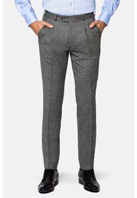 Lancerto - Spodnie Szare w Kratę Księcia Walii Rotterdam. Kolor: szary. Materiał: tkanina, elastan, wełna. Długość: długie. Styl: klasyczny, sportowy