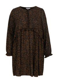 Czarna sukienka mini Zhenzi z długim rękawem, elegancka