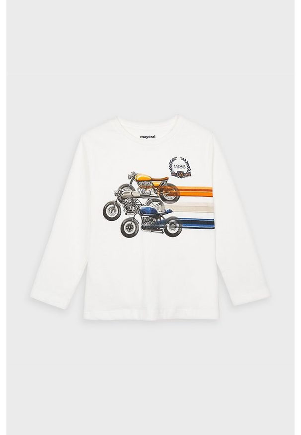 Biała koszulka z długim rękawem Mayoral casualowa, na co dzień, z nadrukiem