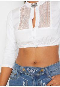 Bluzka w ludowym stylu z koronką bonprix biały. Kolor: biały. Materiał: koronka. Wzór: koronka