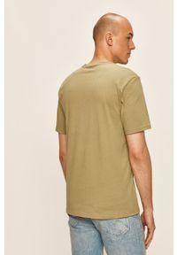 Zielony t-shirt Converse z okrągłym kołnierzem, na co dzień