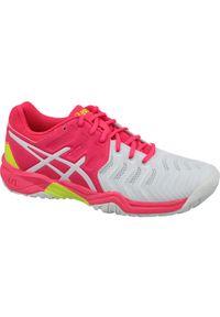 Białe buty do tenisa Asics w kolorowe wzory, z cholewką