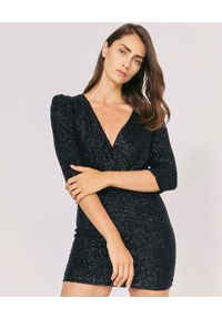 IRO - Czarna sukienka z metalizowaną nicią. Kolor: czarny. Materiał: wiskoza. Typ sukienki: dopasowane. Styl: wizytowy. Długość: mini